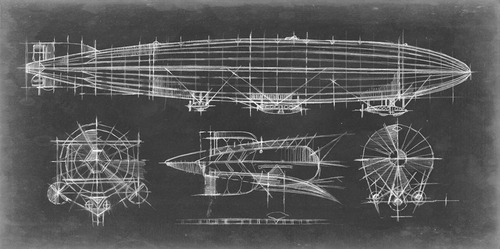 Airship Blueprint ~ 915 x 455mm