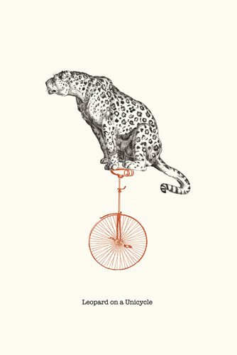 Leopard On A Unicycle - 500 x 750, 600 x 900, 800 x 1200, 1200 x 1800 mm