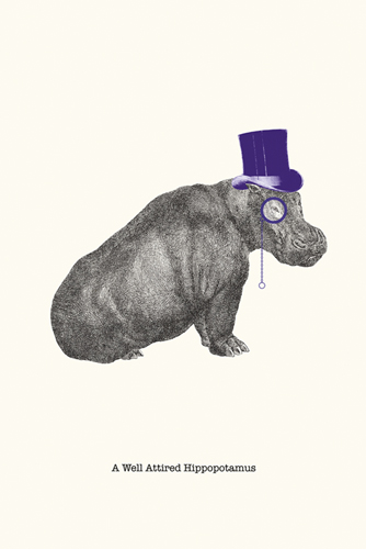 A Well Attired Hippo - 500 x 750, 600 x 900, 800 x 1200, 1200 x 1800 mm